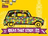 How many Post-it Super Sticky Notes are needed to cover a taxi